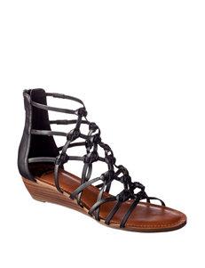Fergie Black Flat Sandals