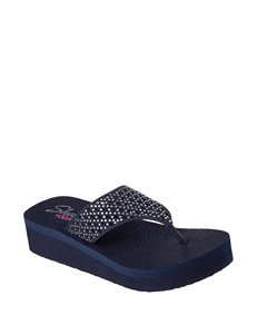 Skechers Navy Flip Flops Wedge Sandals