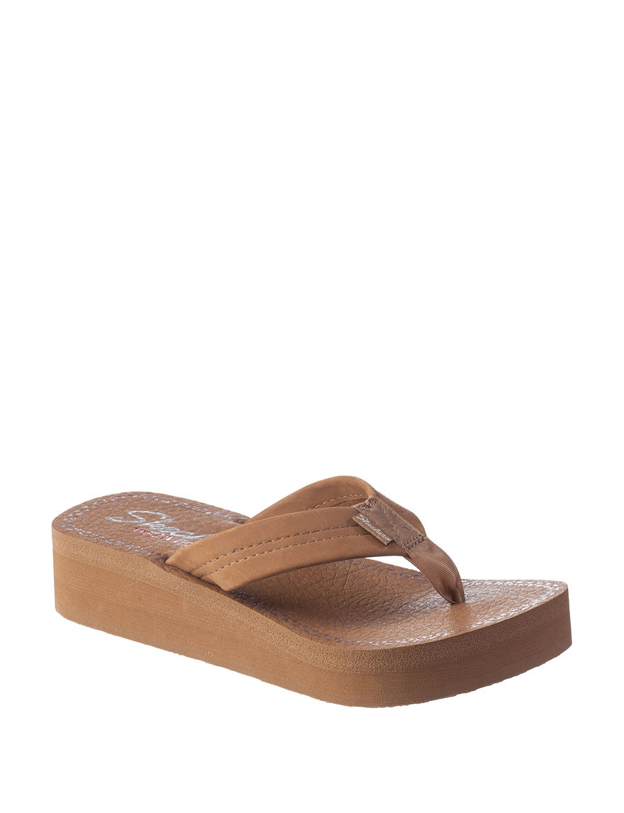 Skechers Brown Flip Flops Wedge Sandals