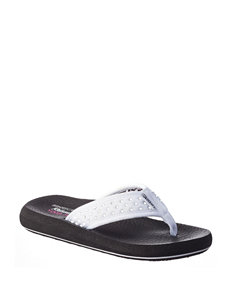 Skechers White Flat Sandals Flip Flops Sport Sandals
