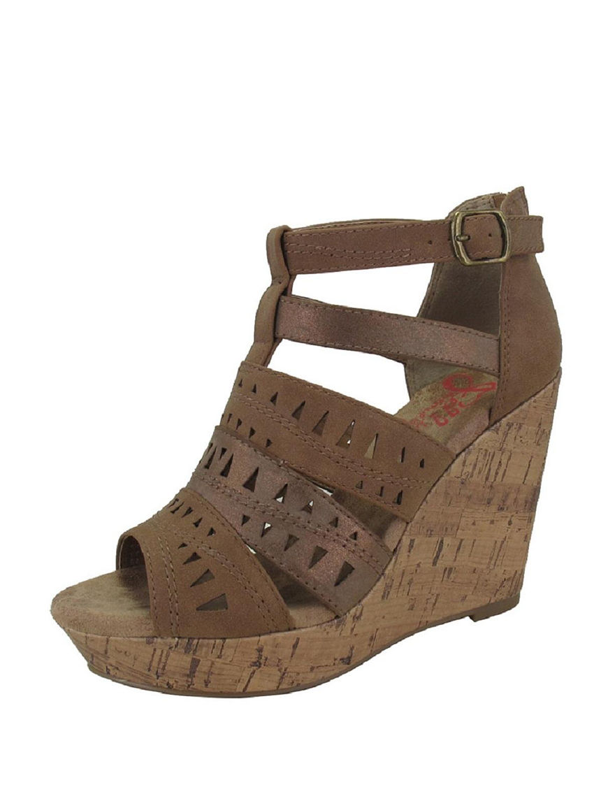 Jellypop Brown Wedge Sandals