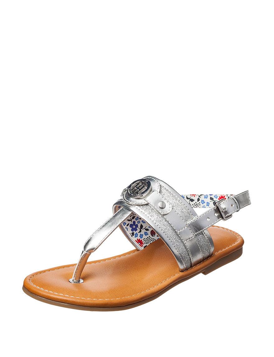 Tommy Hilfiger Silver Flat Sandals Flip Flops