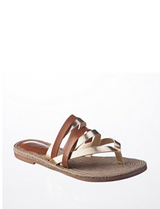 MIA Gold Flat Sandals Flip Flops Gladiators