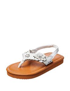 Capelli White Flower Sandals- Toddler Girls 4-9