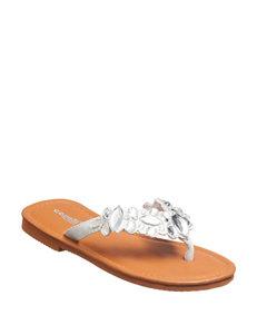 Capelli White Flat Sandals Flip Flops