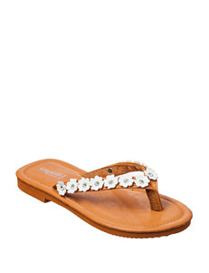 Capelli White Flower Sandals – Girls 10-4