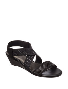 IMPO Black Wedge Sandals