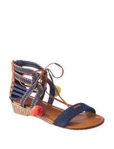 Sugar Denim Flat Sandals Wedge Sandals