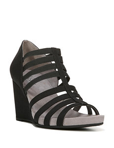 Life Stride Black Wedge Sandals
