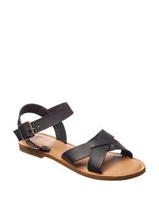 Rampage Black Flat Sandals