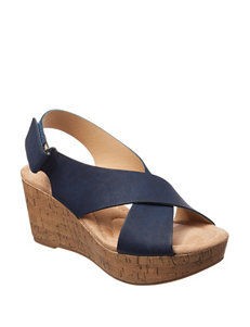 CL by Laundry Navy Wedge Sandals