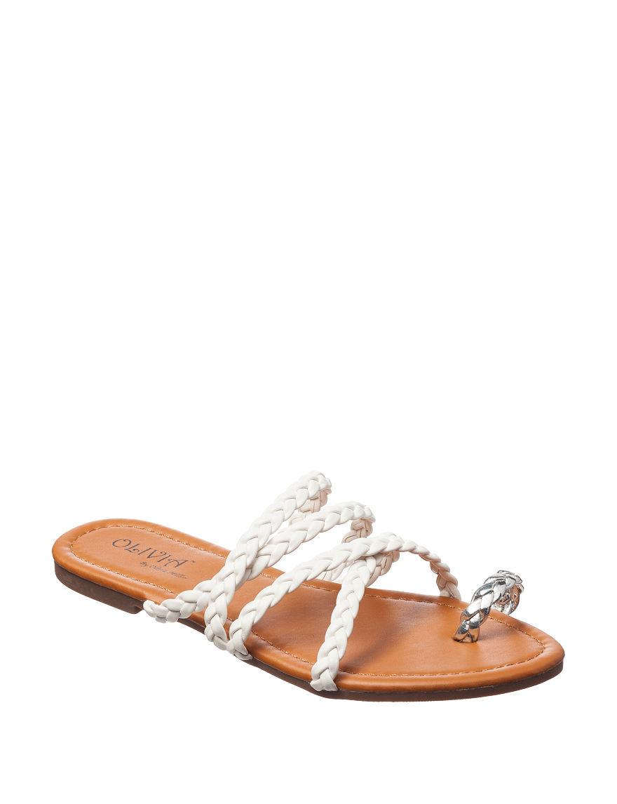 Olivia Miller White Flat Sandals