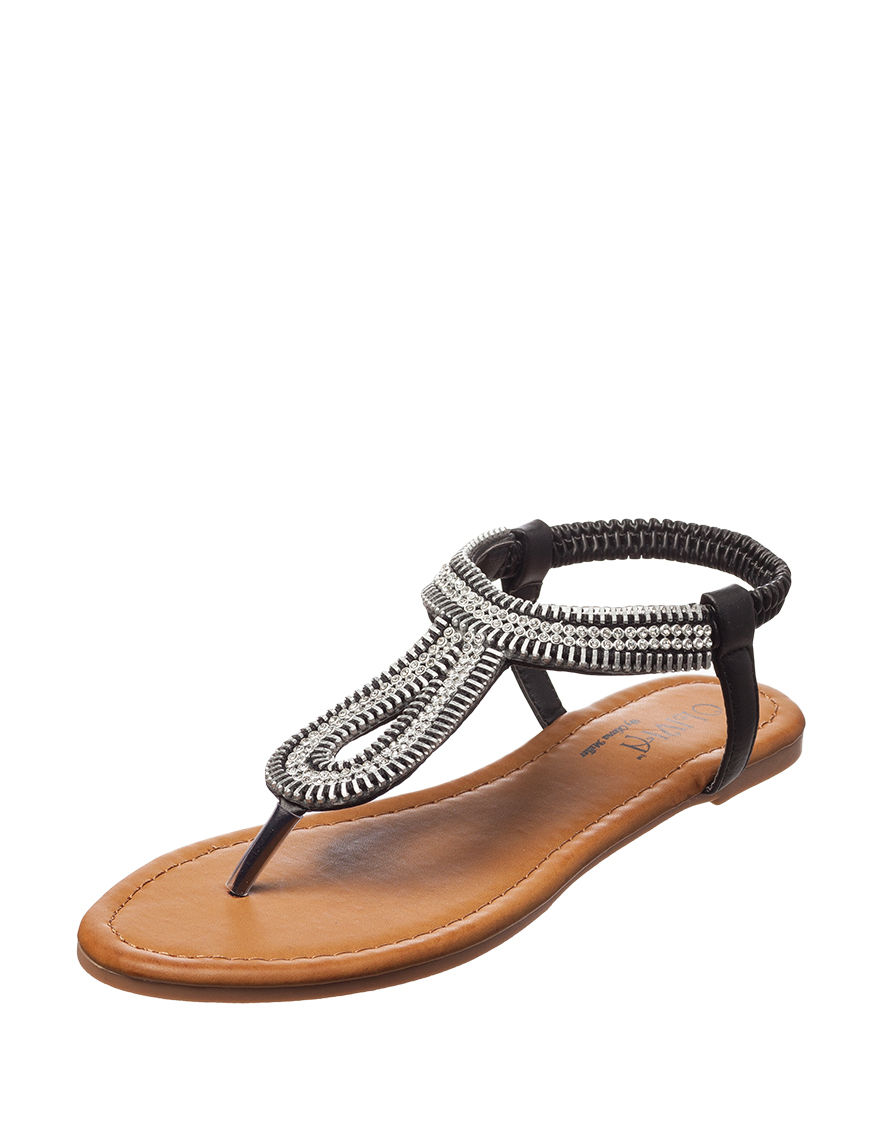 Olivia Miller Black Flat Sandals