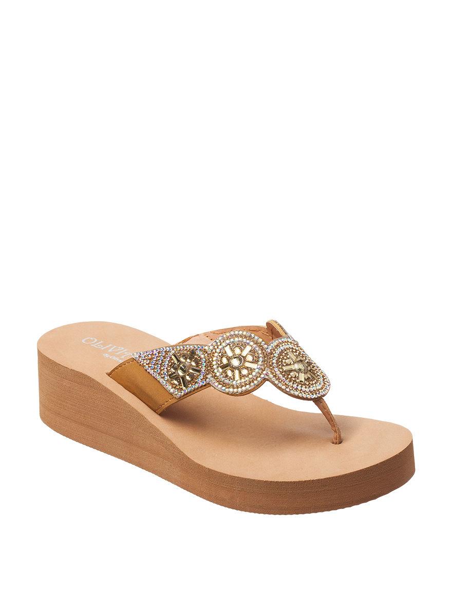 Olivia Miller Tan Flip Flops Wedge Sandals