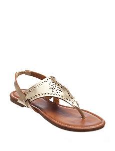 Olivia Miller Gold Flip Flops