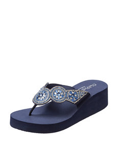 Olivia Miller Navy Flip Flops Wedge Sandals