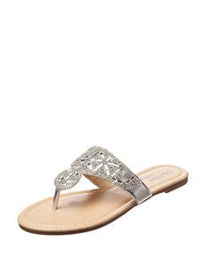 Olivia Miller Silver Flip Flops