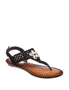 Sugar Black Flat Sandals