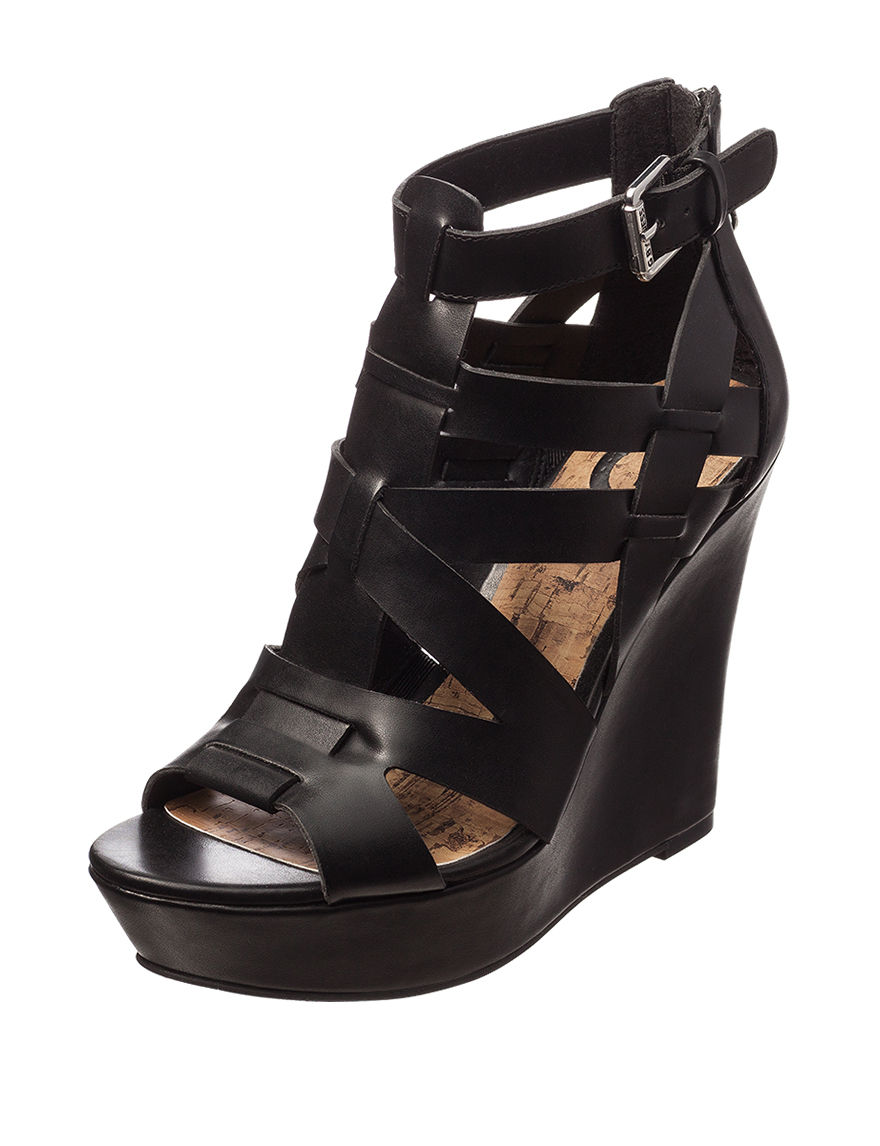 G by Guess Black Wedge Sandals