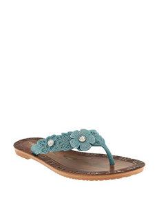 Capelli Turquoise Flat Sandals Flip Flops