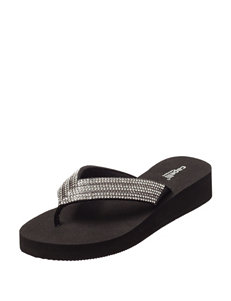 Capelli Black Flip Flops Wedge Sandals