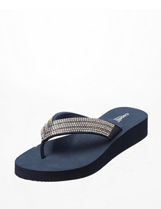 Capelli Navy Flip Flops Wedge Sandals