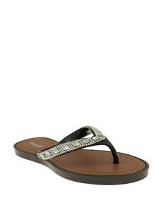 Capelli Black Flat Sandals Flip Flops