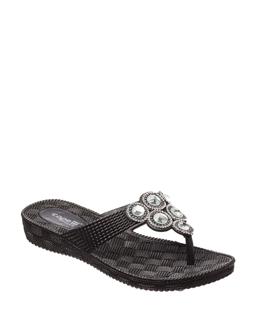 Capelli Black Flat Sandals Flip Flops Wedge Sandals