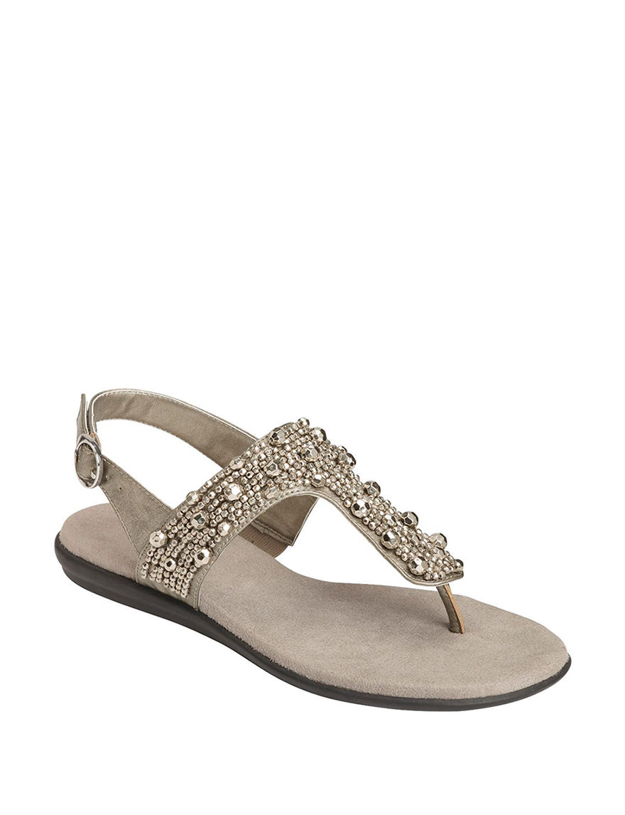 A2 by Aerosoles SIlver Flat Sandals Comfort