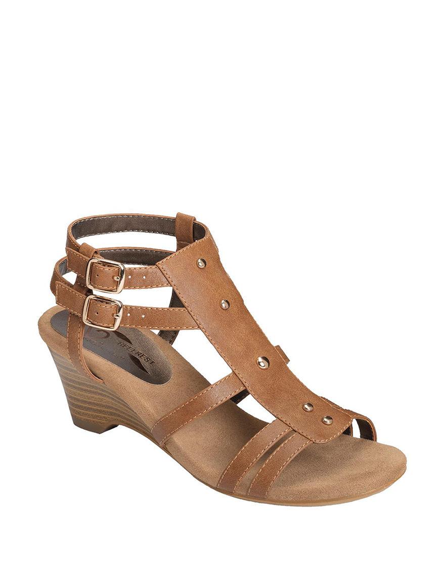 A2 by Aerosoles Beige Heeled Sandals Wedge Sandals Comfort