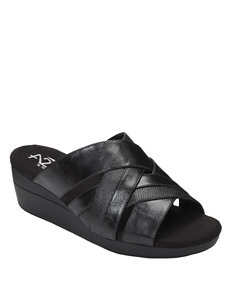 A2 by Aerosoles Black Wedge Sandals Comfort