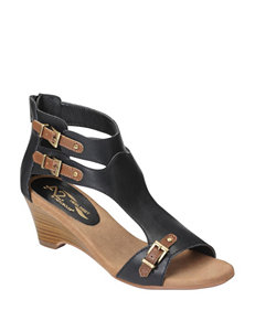 A2 by Aerosoles Black Wedge Sandals