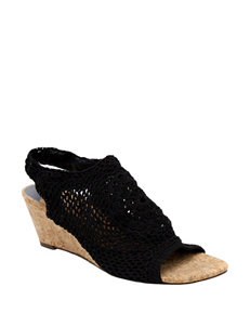 Valerie Stevens Black Wedge Sandals