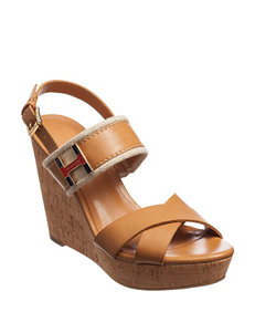 Tommy Hilfiger Tan Wedge Sandals