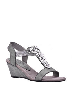 New York Transit Got Glass Wedge Sandals