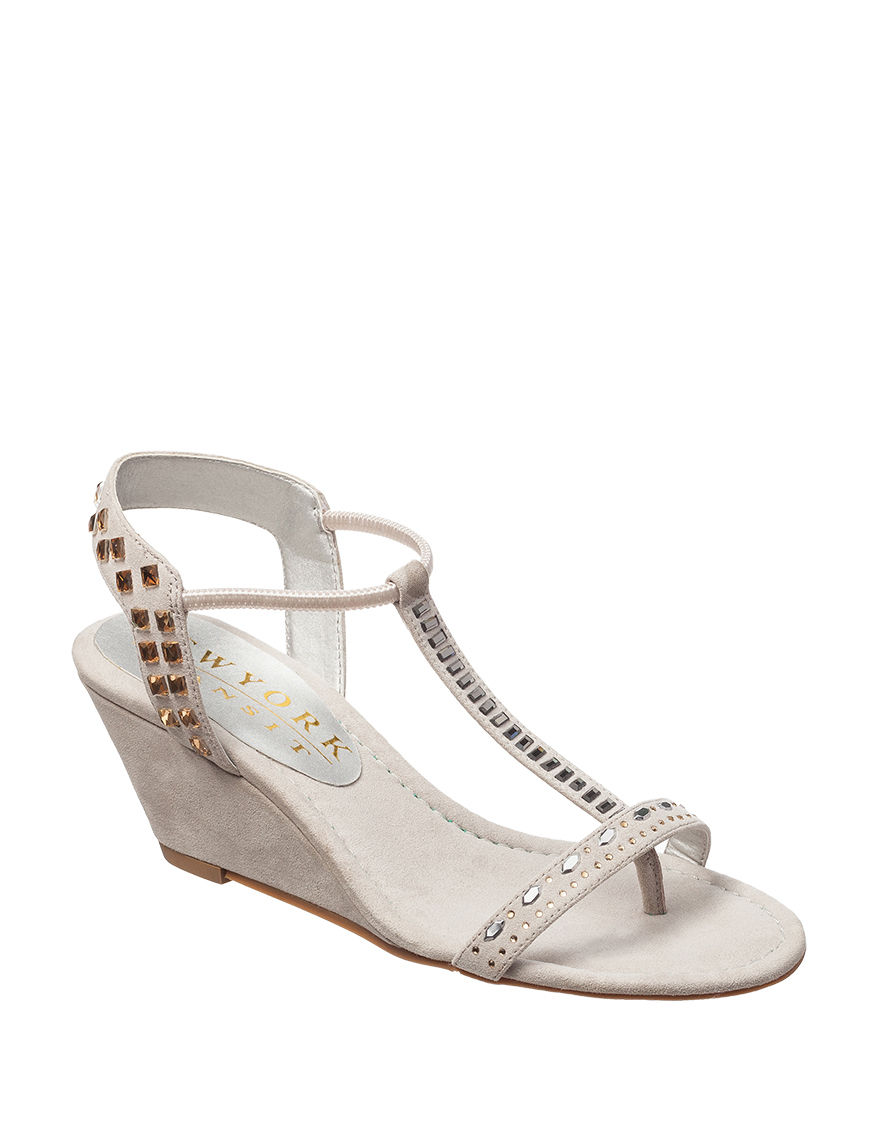 New York Transit Charcoal Wedge Sandals