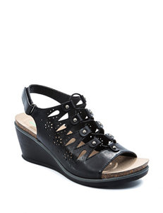 Bare Traps Black Wedge Sandals