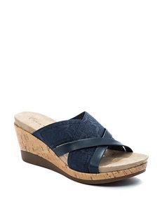Wear. Ever. Navy Wedge Sandals Comfort