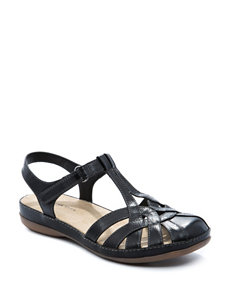 Wear. Ever. Black Flat Sandals