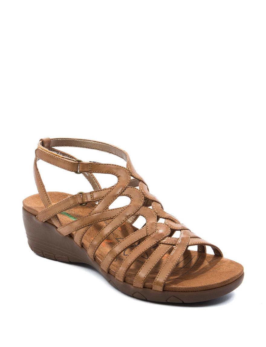 Bare Traps Light Brown Wedge Sandals Comfort