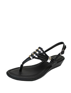 Rialto Black Wedge Sandals