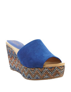 Groove Footwear Blue Wedge Sandals