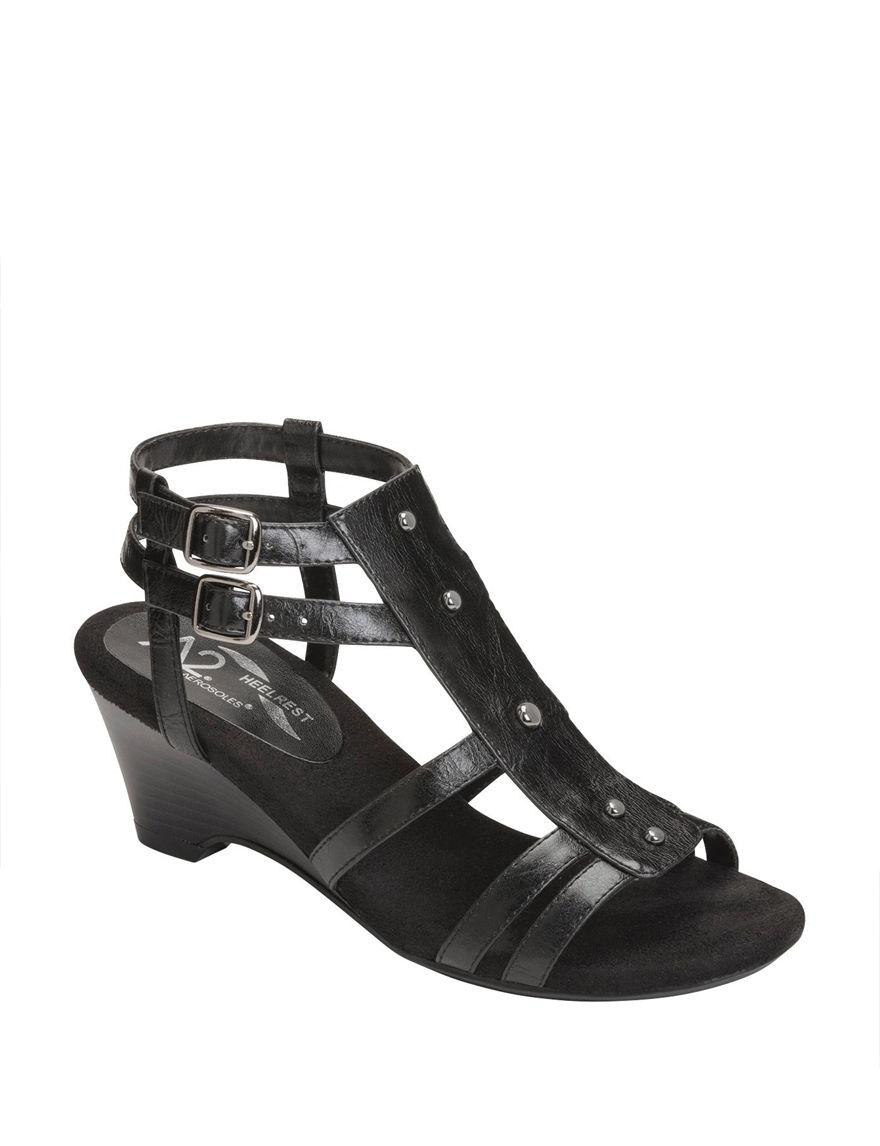 A2 by Aerosoles Black Heeled Sandals Wedge Sandals Comfort
