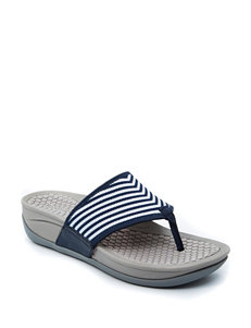 Bare Traps White / Navy Wedge Sandals