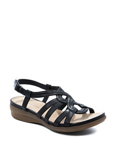 Wear. Ever. Black Wedge Sandals
