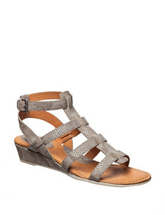 B.O.C. Grey Wedge Sandals Comfort
