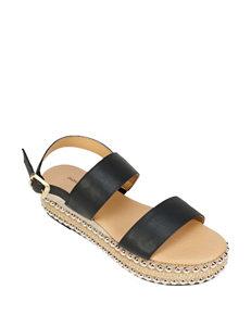 Seven Dials Black Espadrille Flat Sandals