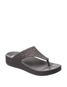 Olivia Miller Charcoal Flip Flops Wedge Sandals