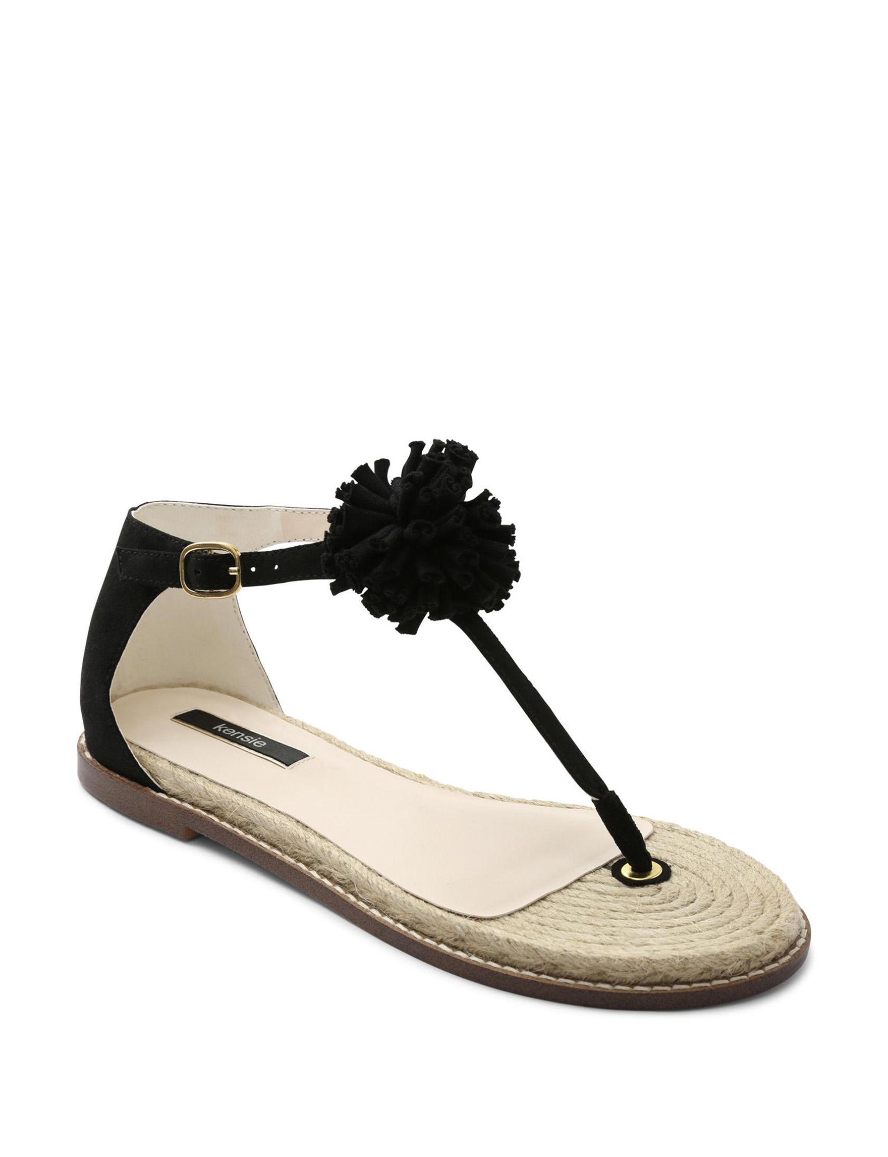 Kensie Black Espadrille Flat Sandals