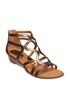 B.O.C. Bronze Gladiators Wedge Sandals